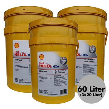 3 Stück Shell Helix HX6 10W-40 20 Liter Motorenöl